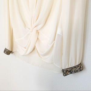 Zara Tops - Zara Jeweled Cuff Sleeve Draped Knot Blouse